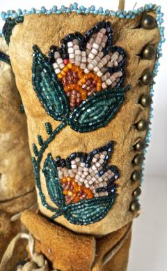Shoshone Indians Pair of Plateau Beaded Childs High Top Moccasins circa 1890 - 69011