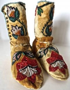 Shoshone Indians Pair of Plateau Beaded Childs High Top Moccasins circa 1890 - 69013