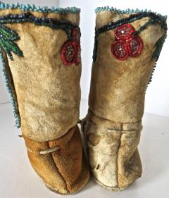Shoshone Indians Pair of Plateau Beaded Childs High Top Moccasins circa 1890 - 69018