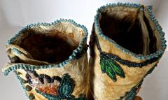 Shoshone Indians Pair of Plateau Beaded Childs High Top Moccasins circa 1890 - 69019