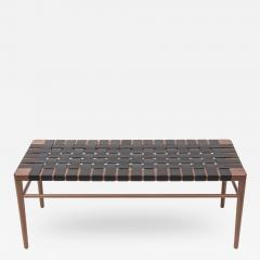Smilow Furniture Smilow Furniture Walnut and Black Leather Webbed Bench - 284156