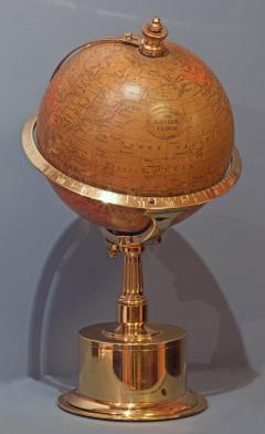 Smith Son c 1885 French Polished Brass World Time Globe Clock - 1184116