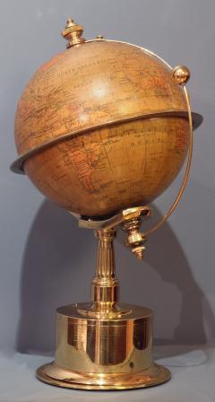 Smith Son c 1885 French Polished Brass World Time Globe Clock - 1184119