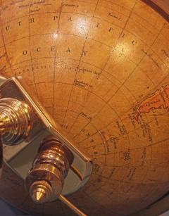 Smith Son c 1885 French Polished Brass World Time Globe Clock - 1184121