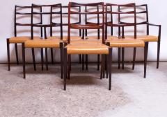 Sor M belfabrik Soro Mobelfabrik Set of Eight Danish Rosewood and Leather Dining Chairs by Sor Stolefabrik - 1174656