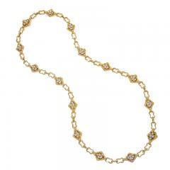 Soubrenie et Bois Paris Textured Gold Link Chain with Diamond Panels - 1184330