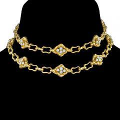 Soubrenie et Bois Paris Textured Gold Link Chain with Diamond Panels - 1184332