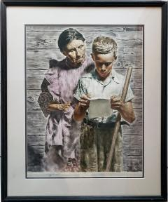 Spencer Douglass Crockwell Grand Mother and Grand Son Read Emotional Letter Norman Rockwell style - 1713884