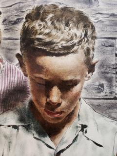 Spencer Douglass Crockwell Grand Mother and Grand Son Read Emotional Letter Norman Rockwell style - 1713885