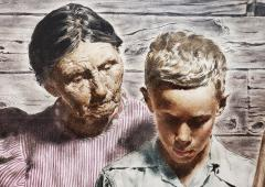 Spencer Douglass Crockwell Grand Mother and Grand Son Read Emotional Letter Norman Rockwell style - 1713887