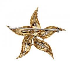 Spitzer Furman Spitzer Furman Diamond Gold Textured Star Brooche - 389544