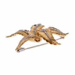 Spitzer Furman Spitzer Furman Diamond Gold Textured Star Brooche - 389546