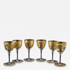 St Louis Crystal 1908 Antique French Saint Louis Crystal Gilded Liquor Cordial Glasses - 143730