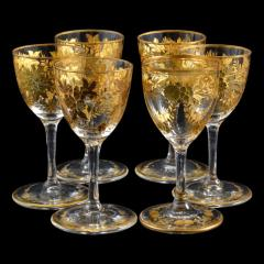 St Louis Crystal 1908 Antique French Saint Louis Crystal Gilded Liquor Cordial Glasses - 143734