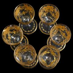 St Louis Crystal 1908 Antique French Saint Louis Crystal Gilded Liquor Cordial Glasses - 143735