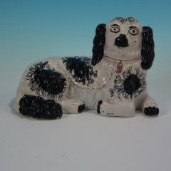 Staffordshire Large Staffordshire Recumbent Black and White Spaniel - 1747816
