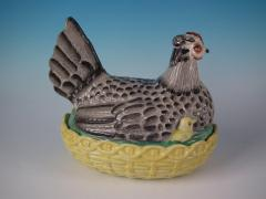 Staffordshire Staffordshire Pottery Hen with Chicks on Nest - 1747763