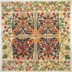 Stella Rubin Original Pattern Stuffed Applique Pots of Flowers Quilt c 1850 - 886579