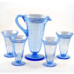 Steuben Glass Glass Lemonade Set Pitcher Four Glasses by Steuben Fry Glass Co Blue Color - 143614