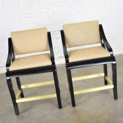 Stewartstown Furniture Company Vintage modern black painted brass upholstered counter height bar stools - 1588862