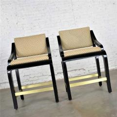 Stewartstown Furniture Company Vintage modern black painted brass upholstered counter height bar stools - 1588863