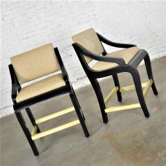 Stewartstown Furniture Company Vintage modern black painted brass upholstered counter height bar stools - 1588864