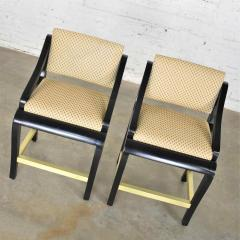 Stewartstown Furniture Company Vintage modern black painted brass upholstered counter height bar stools - 1588865