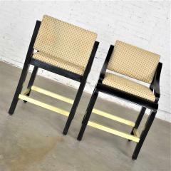 Stewartstown Furniture Company Vintage modern black painted brass upholstered counter height bar stools - 1588866