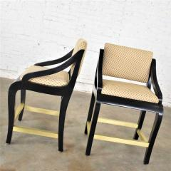 Stewartstown Furniture Company Vintage modern black painted brass upholstered counter height bar stools - 1588879