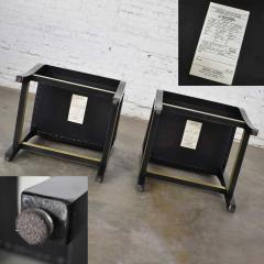 Stewartstown Furniture Company Vintage modern black painted brass upholstered counter height bar stools - 1588880