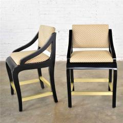 Stewartstown Furniture Company Vintage modern black painted brass upholstered counter height bar stools - 1588881