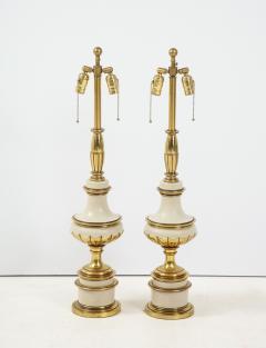 Stiffel Lamp Company Taupe Enamel Brass Hollywood Regency Lamps - 1576414