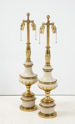 Stiffel Lamp Company Taupe Enamel Brass Hollywood Regency Lamps - 1576415