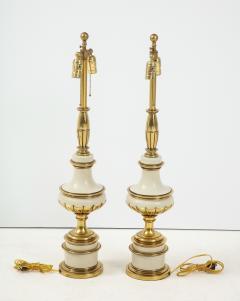 Stiffel Lamp Company Taupe Enamel Brass Hollywood Regency Lamps - 1576417