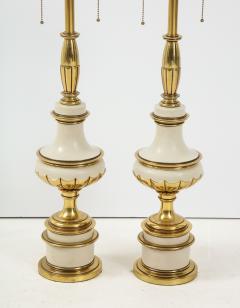 Stiffel Lamp Company Taupe Enamel Brass Hollywood Regency Lamps - 1576418