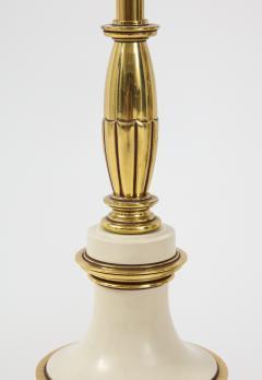 Stiffel Lamp Company Taupe Enamel Brass Hollywood Regency Lamps - 1576421