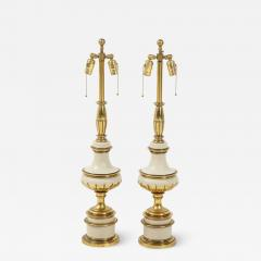Stiffel Lamp Company Taupe Enamel Brass Hollywood Regency Lamps - 1577104