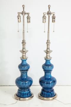 Stiffel Pair of Blue Crackle Glazed Ceramic Lamps by Stiffel - 776841