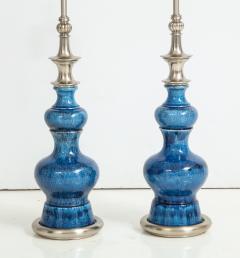 Stiffel Pair of Blue Crackle Glazed Ceramic Lamps by Stiffel - 776842