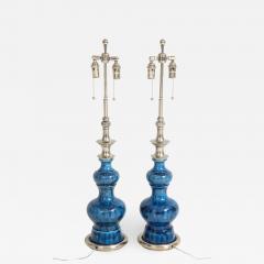 Stiffel Pair of Blue Crackle Glazed Ceramic Lamps by Stiffel - 778174