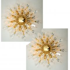 Stilkronen Pair of Stilkronen Crystal and Gilded Brass Italian Flush Mount Sconces - 1151176