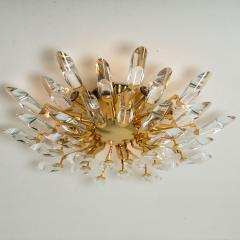 Stilkronen Pair of Stilkronen Crystal and Gilded Brass Italian Flush Mount Sconces - 1151183