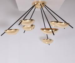 Stilnovo 1 of 2 Huge Brass Sputnik Flush Mounts or Wall Lamps Attributed to Stilnovo - 533597