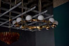 Stilnovo 1 of 2 Huge Stilnovo Style Brass and Murano Glass Chandelier - 1478323