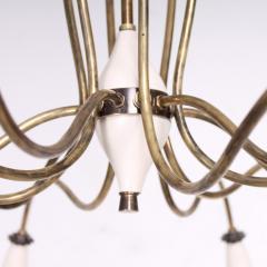 Stilnovo 1940s Splendor Italian Twelve Arm Golden Brass Chandelier in White Pistachio - 1698036