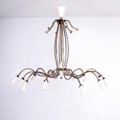 Stilnovo 1940s Splendor Italian Twelve Arm Golden Brass Chandelier in White Pistachio - 1698038