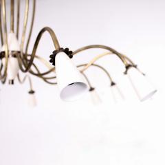 Stilnovo 1940s Splendor Italian Twelve Arm Golden Brass Chandelier in White Pistachio - 1698041