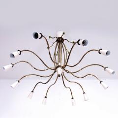 Stilnovo 1940s Splendor Italian Twelve Arm Golden Brass Chandelier in White Pistachio - 1698042