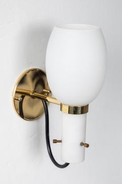 Stilnovo 1950s Italian Brass and Glass Sconces Attributed to Stilnovo - 1079765