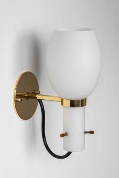 Stilnovo 1950s Italian Brass and Glass Sconces Attributed to Stilnovo - 1079767